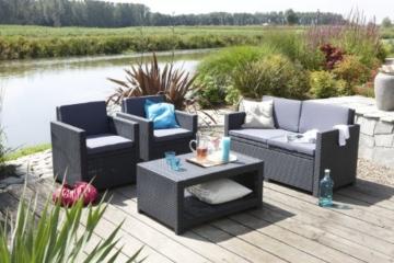 Allibert 206459 Lounge Set Monaco (2 Sessel, 1 Sofa, 1 Tisch), Rattanoptik, Kunststoff, anthrazit -