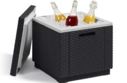 Allibert 212159 Kühlbox/Beistelltisch Ice Cube, Rattanoptik, Kunststoff, anthrazit -