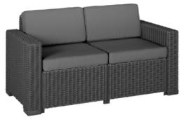 Allibert 212366 Lounge Sofa (2-Sitzer) California Sofa, Rattanoptik, Kunststoff, graphit -
