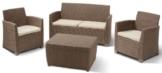 Allibert 212405 Lounge Set Corona mit Kissenbox-Tisch (2 Sessel, 1 Sofa, 1 Tisch), Rattanoptik, Kunststoff, cappuccino -