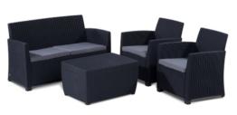 Allibert 212406 Lounge Set Corona mit Kissenbox-Tisch (2 Sessel, 1 Sofa, 1 Tisch), Rattanoptik, Kunststoff, graphit -