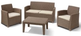Allibert 212454 Lounge Set Corona  (2 Sessel, 1 Sofa, 1 Tisch), Rattanoptik, Kunststoff, cappuccino -