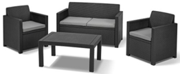 Allibert 219851 Lounge Set Merano (2 Sessel, 1 Sofa, 1 Tisch), Rattanoptik, Kunststoff, graphit -