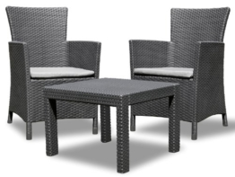 Allibert 219992 Lounge Set Rosario Balcony 2x Sessel und 1x Tisch, Rattanoptik, Kunststoff, graphit -