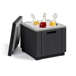 Allibert Kühlbox Beistelltisch inkl. Kühlakku Ice Cube Rattanoptik graphit -