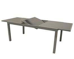 Ausziehtisch PISA 140/200x90cm, Aluminium + Glas -