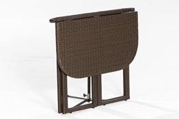 Balkon - Klapptisch GRAZ 90x50cm, Stahlgestell + Polyrattan Geflecht braun -