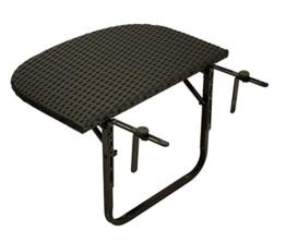 Balkonhängetisch 60x40cm, Metall + Polyrattan schwarz -