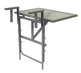 Balkonhängetisch 60x40cm, Stahl silber + Sicherheitsglas, klappbar -