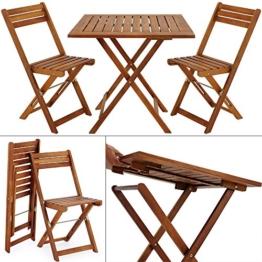 Balkonset Akazie Braun 2 Stühle 1 Tisch klappbar - Gartenmöbel Sitzgruppe -