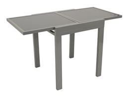 Balkontisch AMALFI aus Aluminium und Glas 65x65cm, ausziehbar auf 65x130cm -