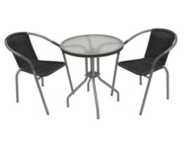 Bistrogarnitur 3-teilig; 2x Stapelsessel, 1x Tisch rund 60cm, grau -