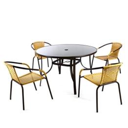 Bistroset 5tlg beige Sitzgruppe Gartengarnitur Poly Rattan Gartenmöbel 5er Set -