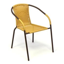 Bistrostuhl Stapelstuhl Balkonstuhl Poly Rattan Gartenstuhl Terrasse Stuhl beige -