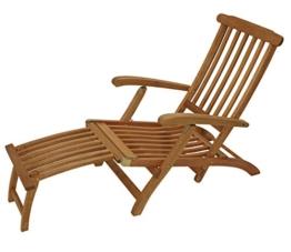 Deckchair Maine mit Fussteil aus Eukalyptus Hartholz, FSC®-zertifiziert -
