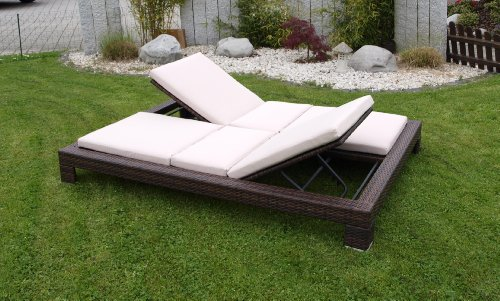 exclusive doppel liege viareggio stahl polyrattan braun incl auflagen partyzelt. Black Bedroom Furniture Sets. Home Design Ideas