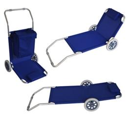 Funktions- Strandwagen, nutzbar als Strandliege, Alu + Textilgewebe blau -
