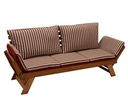 Garten - Liegesofa TIROL 202cm mit klappbaren Seitenlehnen, Eukalyptusholz, mit Wendeauflage rot beige, FSC®-zertifiziert -