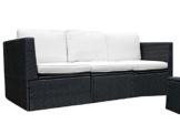Gartenmöbel 3tlg. Sitzgruppe Poly Rattan Lounge Garten Garnitur Couch creme -