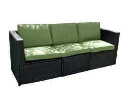 Gartenmöbel 3tlg. Sitzgruppe Poly Rattan Lounge Garten Garnitur Couch grün -
