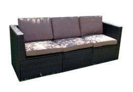 Gartenmöbel 3tlg. Sitzgruppe Poly Rattan Lounge Garten Garnitur ecru -