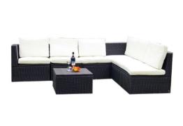 Gartenmöbel 7tlg. Sitzgruppe Poly Rattan Lounge Garten Garnitur creme -