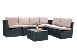 Gartenmöbel 7tlg. Sitzgruppe Poly Rattan Lounge Garten Garnitur ecru -