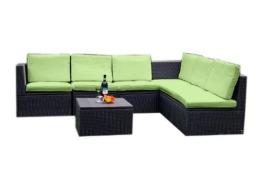 Gartenmöbel 7tlg. Sitzgruppe Poly Rattan Lounge Garten Garnitur grün -