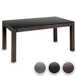Hochwertiger Polyrattan Tisch Teetisch Beistelltisch für den Garten mit Glas (Farbwahl) -