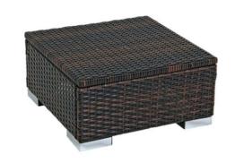 Hocker Beistelltisch SORRENTO 50x50cm, Stahl + Polyrattan braun -
