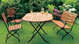 Klappbare Garnitur SCHLOSSGARTEN 4-teilig, Stahlgestell schwarz + Eukalyptus, FSC®-zertifiziert -