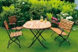 Klappgarnitur Schlossgarten 5-teilig, Stahl + Eukalyptus, FSC®-zertifiziert -