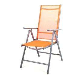 Klappstuhl Aluminium Gartenstuhl Alu Campingstuhl verstellbar orange hochlehnig -