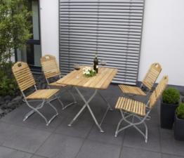 Kurgarten - Garnitur BAD TÖLZ 5-teilig, Flachstahl verzinkt + Robinie, klappbar -