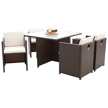 Lounge Garnitur VERONA 13-teilig, Metall + Polyrattan dunkelbraun, Polster creme -