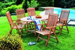 Merxx 7 tlg Maracaibo Set Gartengarnitur Sitzgruppe garnitur FSC Eukalyptus Holz -