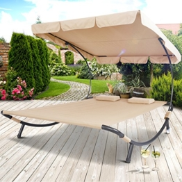 Miadomodo Doppelliege Sonnenliege mit Sonnendach Gartenliege ca. 200 x 173 x 148cm für bis zu 2 Personen -