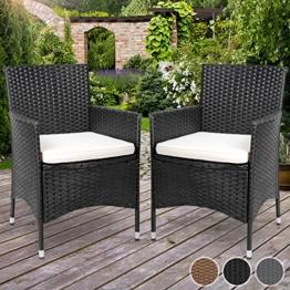 Miadomodo Polyrattan Gartenmöbel Rattanmöbel Stühle in 2er-Set - in der Farbe nach Ihrer Wahl (Schwarz) -