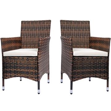 Miadomodo Polyrattan Gartenmöbel Rattanmöbel Stühle In 2er Set Und In Der  Farbe Nach Ihrer Wahl (Braun)