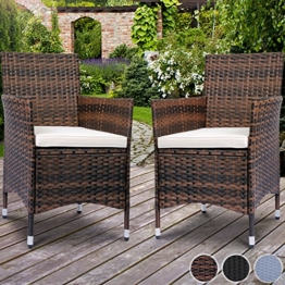 Miadomodo Polyrattan Gartenmöbel Rattanmöbel Stühle in 2er-Set und in der Farbe nach Ihrer Wahl (Braun) -