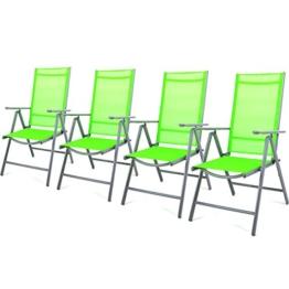 Nexos 4-er Set Stuhl, Klappstuhl, Gartenstuhl, Hochlehner für Terrasse, Balkon Camping Festival, aus Aluminium verstellbar, leicht, stabil, grün -