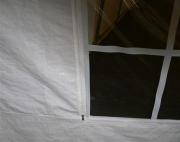 Party - Zelt PALMA 4x6 Meter, Planen PE weiss, Rollfenster + Rollo, Gestänge 38mm -