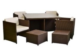 Poly Rattan Sitzgruppe 18tlg. Gartenmöbel Set Garnitur Lounge braun -