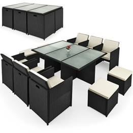 Poly Rattan Sitzgruppe 27tlg Sitzgarnitur Gartengarnitur Rattanmöbel Cube -