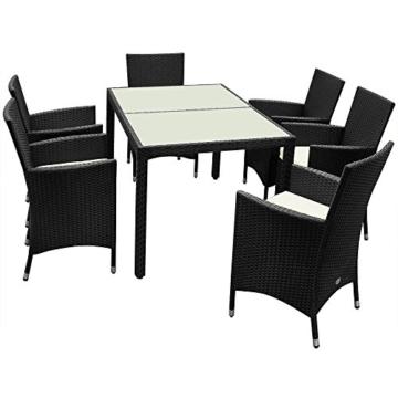 Poly Rattan Sitzgruppe Sitzgarnitur Gartengarnitur Gartenmöbel Gartenset 6+1 -