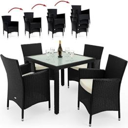 PolyRattan Sitzgruppe 4+1 STAPELBAR Gartenmöbel Lounge Sitzgarnitur Garten Gartenset Essgruppe Rattan -