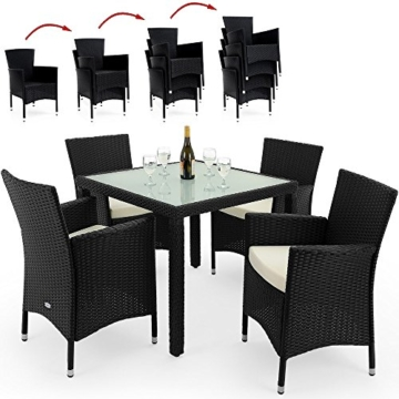 ᐅ PolyRattan Sitzgruppe 4+1 STAPELBAR Gartenmöbel Lounge ...
