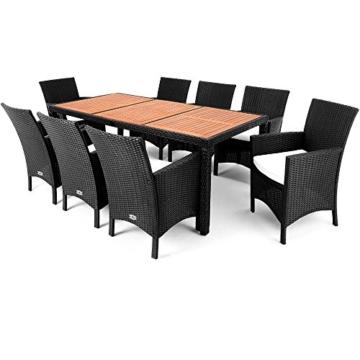 Polyrattan Sitzgruppe 8+1 Tisch aus Akazienholz Gartenmöbel Lounge Gartenset Sitzgarnitur Rattan -