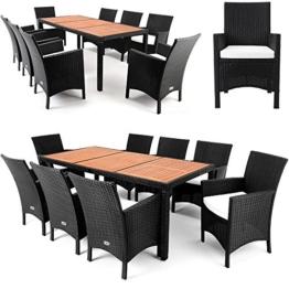 Polyrattan Sitzgruppe 8+1 Tischplatte aus Akazienholz Essgruppe Sitzgarnitur Gartenmöbel Gartenset Rattan -