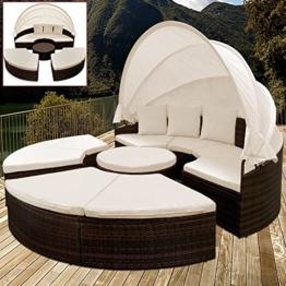 PolyRattan Sonneninsel Ø 185cm Sonnenliege Gartenliege Gartenmöbel Lounge Rattan -